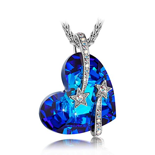 LADY COLOUR Heart Necklace for Women Star Pendant with Swarovski Big Blue Crystals Fashion Costume Jewelry Brithday Anniversary Romantic Gifts Present Wife Her Girls Girlfriend Mom Mother Lady Sister -