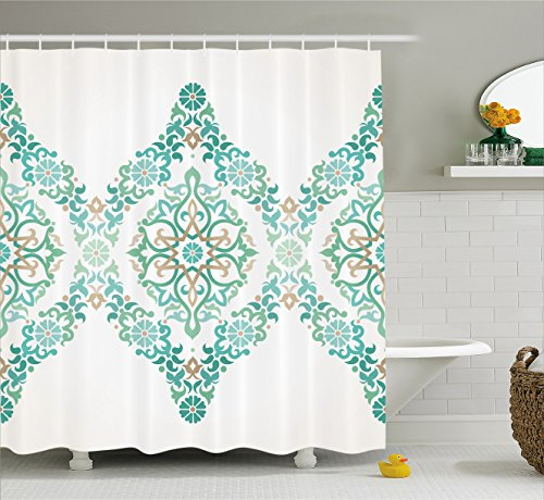 (Traditional House Decor Shower Curtain by Ambesonne, Ottoman Mosaics in Tones Royal Elegance Victorian Palace Retro Print, Fabric Bathroom Decor Set with Hooks, 75 Inches Long, Teal)