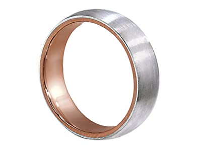 mens two tone 18k rose gold platinum brushed finish 6mm comfort fit wedding band ring size - Mens Rose Gold Wedding Rings