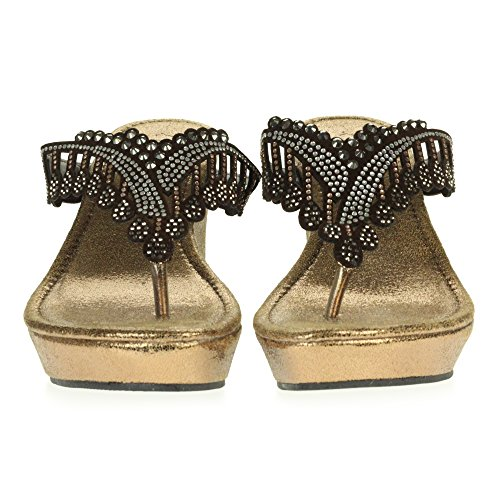 AARZ LONDON Femmes Dames Cristal Diamante Décontractée Glisser Sur Confort Talon Bas Compensé Poids Léger des Sandales Chaussures Taille Marron y1WaDx6y
