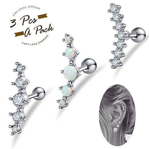 FIBO STEEL 16G Cartilage Stud Earrings for Women Girls Conch Helix Piercing Jewelry Set (A1:3 Pcs a - Conch Piercing Ear