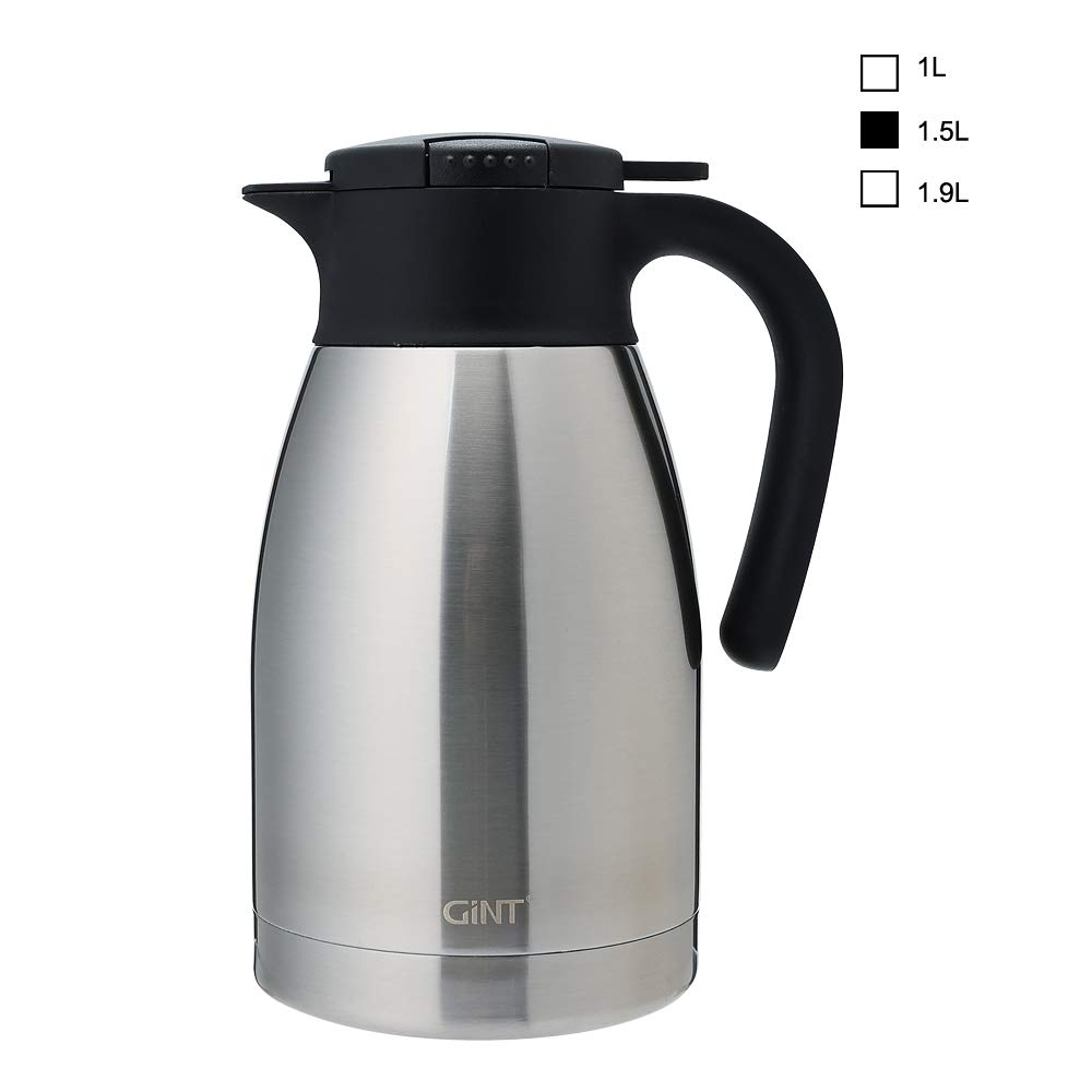 GiNT Stainless Steel Thermal Coffee Carafe with Lid/Double Walled Vacuum Thermos / 12 Hour Heat Retention,1.5L, Silver