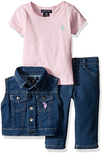 U.S. Polo Assn. Baby Girls' Twill Vest, Stretch Denim Jean and Space Dyed T-Shirt, Prism Pink, 18 Months