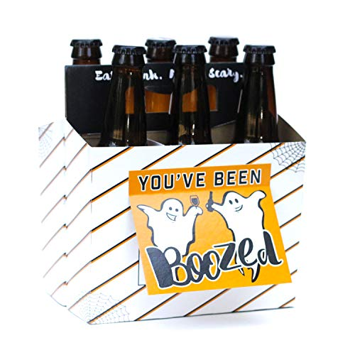 Halloween Gifts for Adults! Fill with Halloween Beer! Six Pack Greeting Card Box (Set of 4 Card Boxes in Halloween Booze Design) - Great for Halloween Gifts, Halloween Decor and Halloween Gift Baskets]()