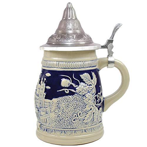 Tall Lidded Stein - Colbult Blue Berlin Germany & Beer Harvest .75 Liter Beer Mug Lidded Collectible Beer Stein