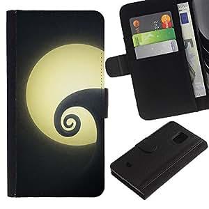 Samsung Galaxy S5 Mini / SM-G800 (Not For S5!!!) Modelo colorido cuero carpeta tirón caso cubierta piel Holster Funda protección - Painting Wave Surf Night Minimalist