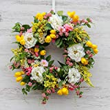 Darby Creek Trading White Peony, Yellow & Pink Tulip & White Cherry Blossom Everyday Spring Wreath