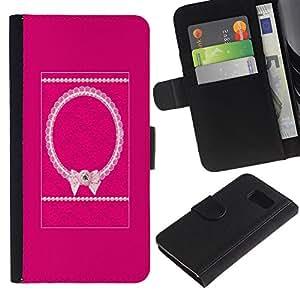 LASTONE PHONE CASE / Lujo Billetera de Cuero Caso del tirón Titular de la tarjeta Flip Carcasa Funda para Samsung Galaxy S6 SM-G920 / Bowtie Pink White Pattern Purple
