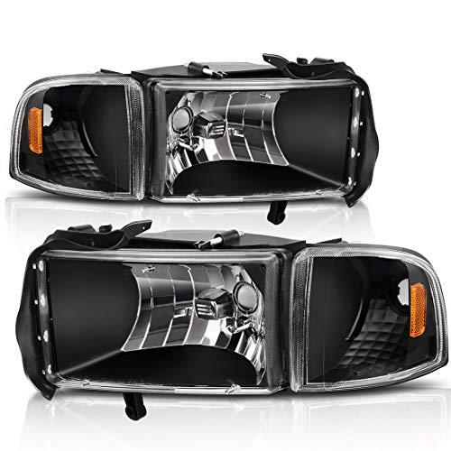 For 94-01 Dodge Ram 1500/94-02 Dodge Ram 2500 3500 Headlight Assembly Black Housing + Corner Lights