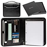 Portfolio Professional PU Leather Binder - Zippered Folio for Business Interview, Or Gift Your Loved Ones - 3 Ring Padfolio Organizer Holds Tablets Up to 12'', Folders, Planner, Resume, For Men & Women
