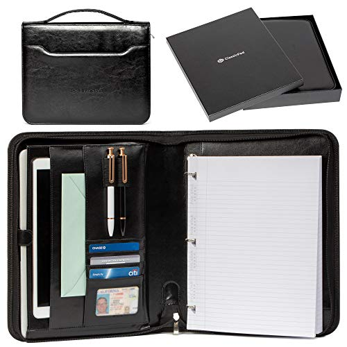 Portfolio Professional PU Leather Binder - Zippered Folio for Business Interview, Or Gift Your Loved Ones - 3 Ring Padfolio Organizer Holds Tablets Up to 12