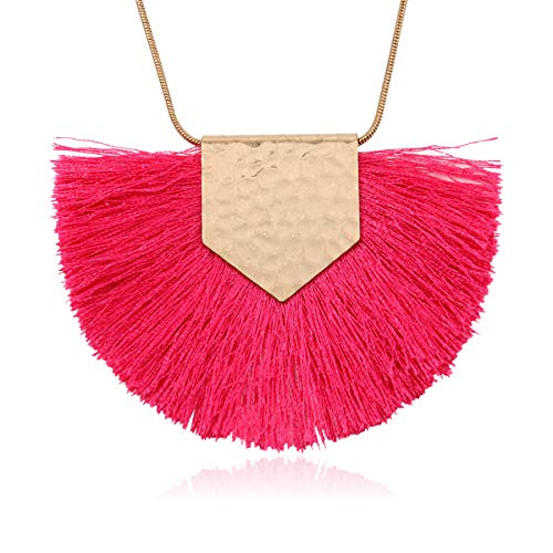 RIAH FASHION Antique Bohemian Silky Thread Fan Tassel Statement Necklace - Vintage Gold Feather Shape Strand Fringe Lightweight Long Chain (Necklace Half Moon Tassel - Hot Pink)