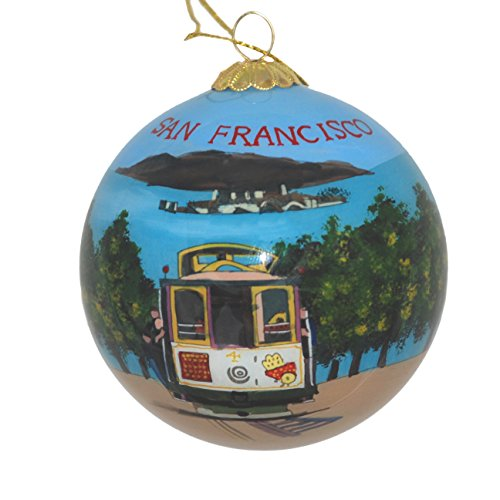 Hand Painted Glass Christmas Ornament - San Francisco, California Trolley