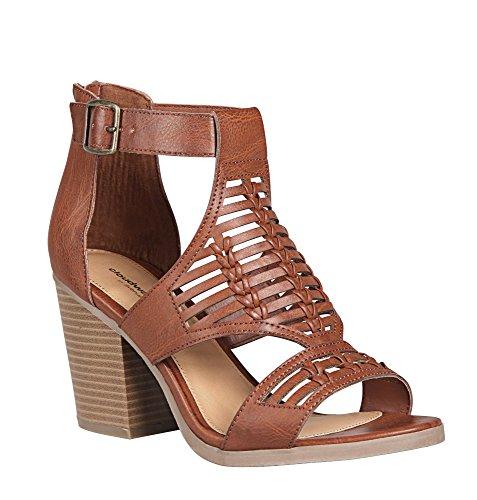 Avenue Womens Sara Braided T-Strap Peep Toe Bootie Cognac evRl7MH