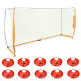 Bownet Portable Soccer Goal with Frame Carry Bag BOW6 7x14 + Bownet Field Cones (Pack of 10)