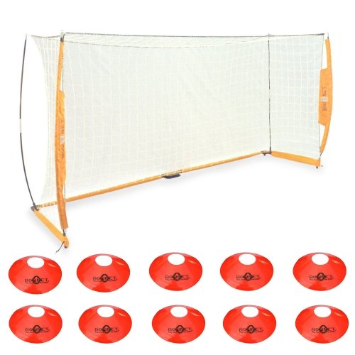 Bownet Portable Soccer Goal with Frame Carry Bag BOW6 7x14 + Bownet Field Cones (Pack of 10) by Bownet