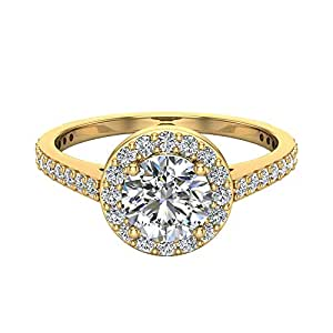 Round Brilliant Cut Diamond Dainty Halo Engagement Ring 1.15 carat total 14K Yellow Gold (Ring Size 7)