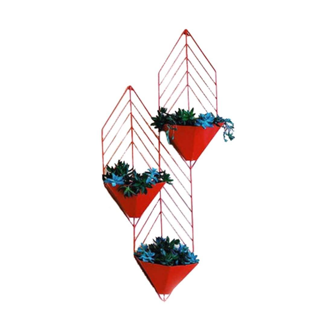 ZHILIAN® Kreative An Der Wand Befestigte Metallschmiedeeisen-Blaumenstandplatz Einfache Europäische Schwarz Orange Rote Familienwohnzimmerschlafzimmer-Multifunktionsgestell ( Farbe   Schwarz) rot