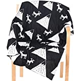 AINAAN Knitted Baby Blankets with Black & White Soft Baby Shawl Personalized Deer Crib Blanket for Baby Bedding