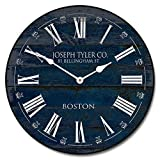 Barnwood Navy Blue Wall Clock, Available in 8 Sizes, Most Sizes Ship The Next Business Day, Whisper Quiet.