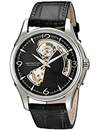 Men's HML-H32565735 Jazzmaster Open Heart Analog Display Swiss Automatic Black Watch