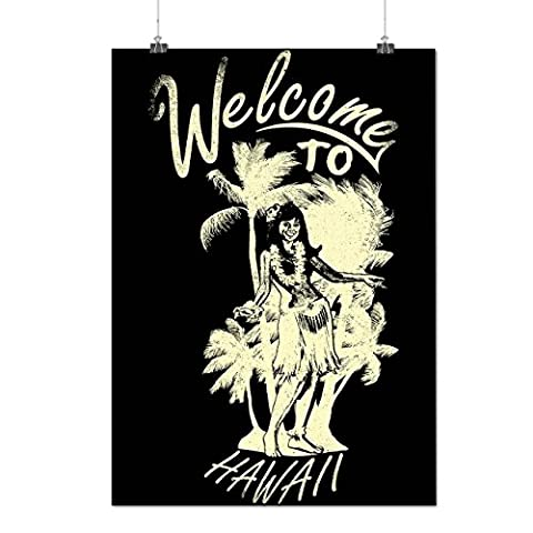 Welcome To Hawaii USA Beach Lady Matte/Glossy Poster A3 (12x17 inches) | Wellcoda (Aloha Island Resort)