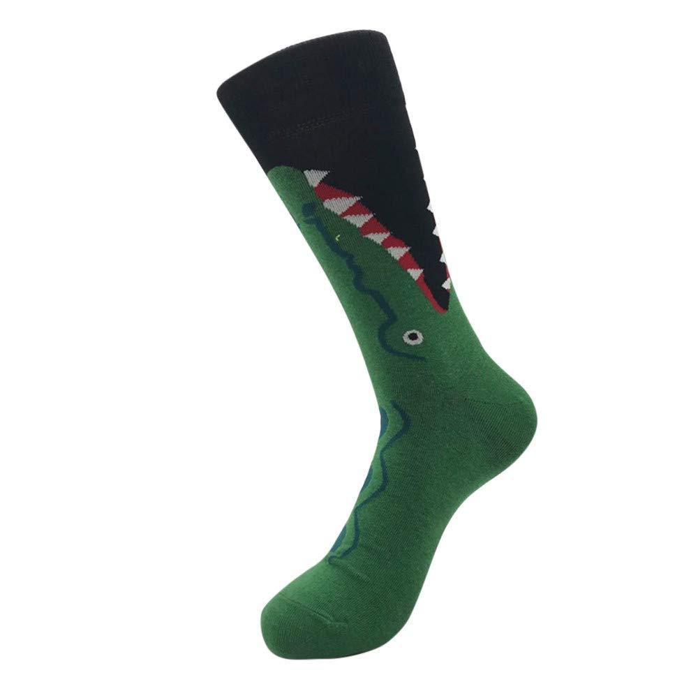 Fashion Color Spliced Pattern Novelty Men's Mid Calf Socks for Football, Running, Riding,Travel (A)