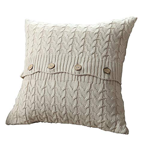 U'Artlines Cotton Knitted Decorative Pillow Case Cushion Cover Cable Knitting Patterns Square Warm Throw Pillow Cover (B Cream, 18x18)