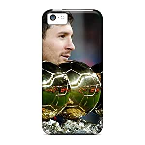 5c Scratch-proof Protection Cases Covers For Iphone/ Hot The Player Of Barcelona Lionel Messi Is With His Trophies Phone Cases