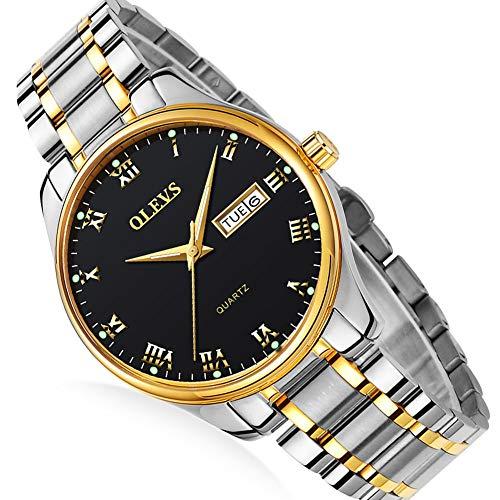 Roman Numeral Steel Watch for Men,Waterproof Watch Men,Men's Day Date Watch,Fashion Luminous Watch for Men,Men's Luxury Classic Quartz Watch,Male Best Steel Watch,Men's Luxury Watch,Dress Watch Male
