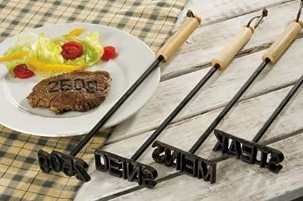 als Set oder einzeln bestellbar BBQ-Toro Grill Brandeisen MEINS und DEINS DEINS Gusseisen Stempel