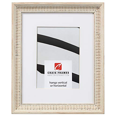 Craig Frames Luella, 20 x 24 Inch Ornate Picture Frame Matted to Display a 16 x 20 Inch Photo, Off-White