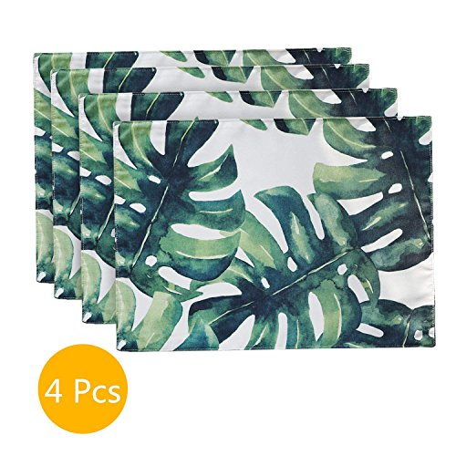 ColorBird Palm Leaves Placemats Waterproof Spillproof Fabric Table Place Mat Doily, Set of 4, 12 x 18 Inch