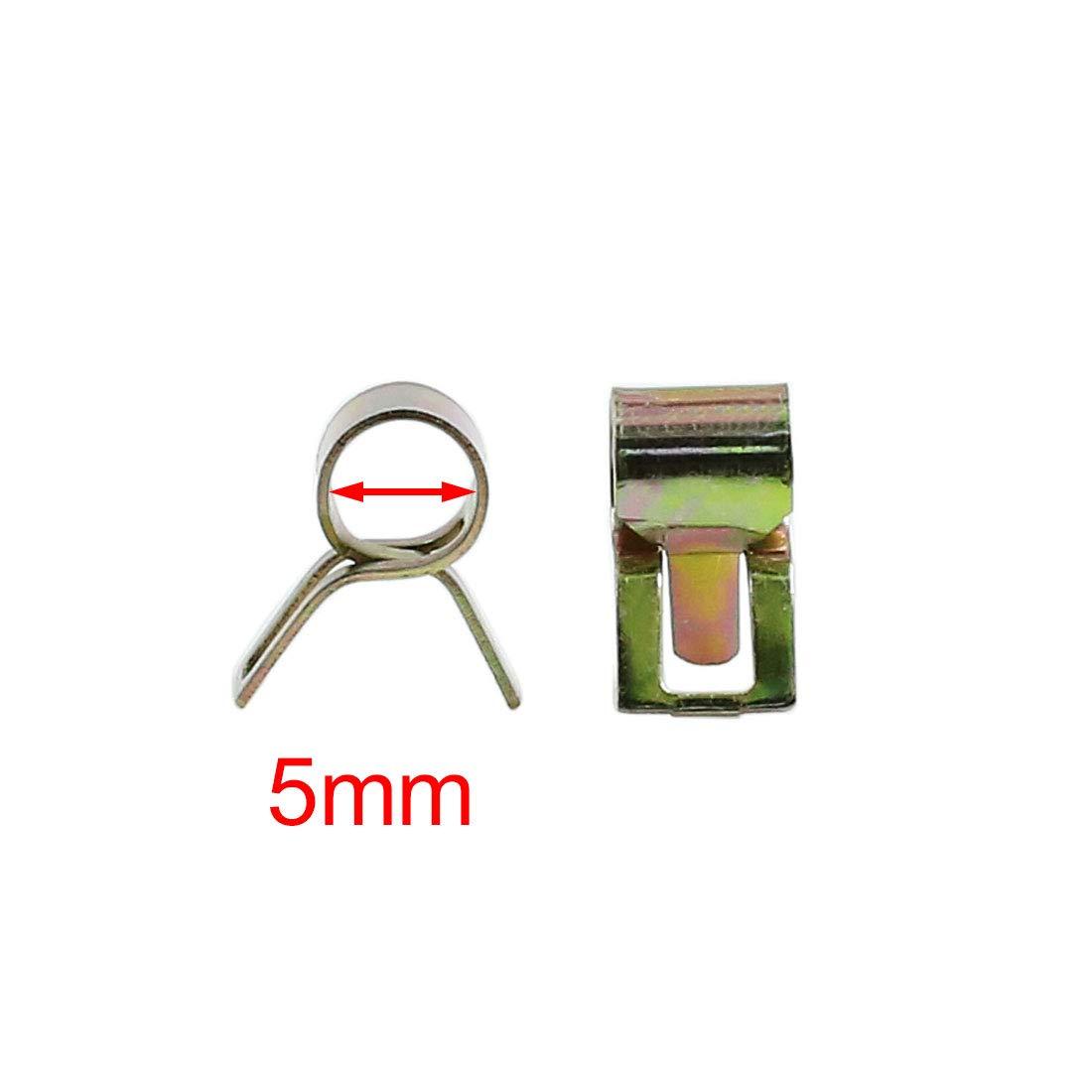 sourcing map 40pc 5mm Car Conduite air Tuyau Eau Clip Ressort Collier Fixation Flexible
