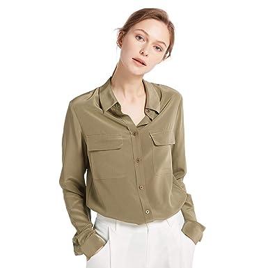 75c79e8b9d0615 LilySilk Klassisch Seide Damenbluse Hemdbluse Shirt Damen Langärmlig mit  Perlmutt-Knopfleiste Verpackung MEHRWEG (XS