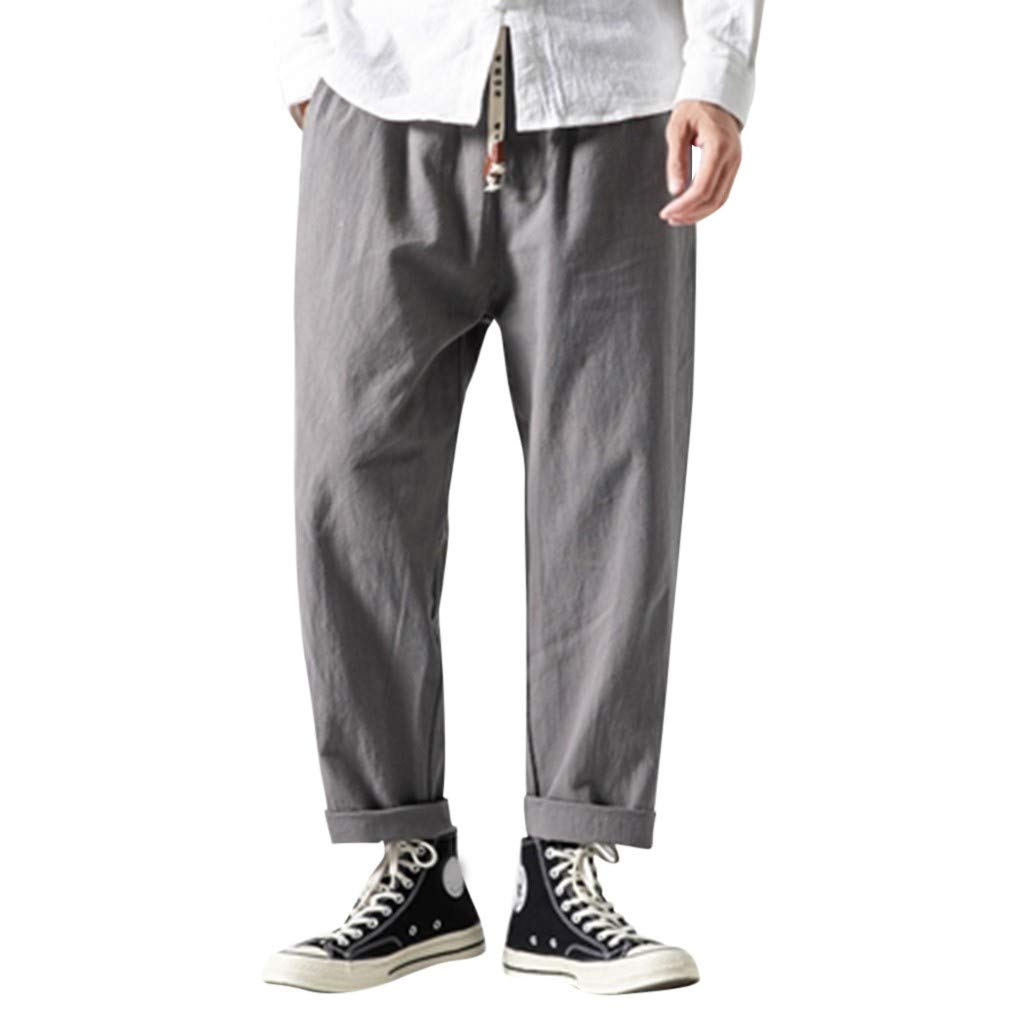 Aleola Men's Flax Retro Trousers Large Individualized Printed Trouser (Gray,XXXXL) by Aleola_Men's Pants