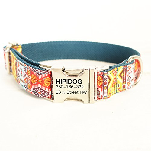hipidog Personalized Dog Collar, Custom Engraving with Pet Name and Phone Number, Adjustable Tough Nylon ID Collar, Matching Leash Available Separately (Bohemia)