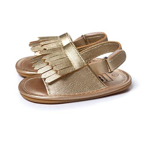 Vanbuy Baby Boys Girls Tassels Sandals Infant Soft Rubber Sole Moccasins Toddler Crib Anti Slip Shoes WB04-Gold-M - Image 3