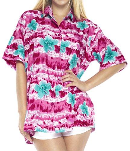 LA LEELA Likre Button Down Casual Cruise Day Shirt Pink 215|XL - US 40 - 42E