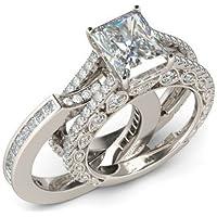 phitak shop 925 Silver Jewelry Elegant Princess Cut White Sapphire Wedding Ring Size 6-10 (8)