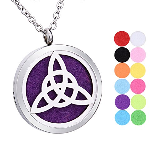 Celtic Knot Aromatherapy Essential Oil Diffuser Necklace Stainless Steel Round Locket Pendant 24