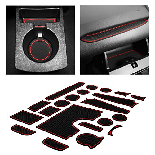 CupHolderHero fits Ford Fiesta Accessories 2011-2019 Premium Custom Interior Non-Slip Anti Dust Cup Holder Inserts, Center Console Liner Mats, Door Pocket Liners 21-pc Set (Red Trim) (Color: Red Trim)