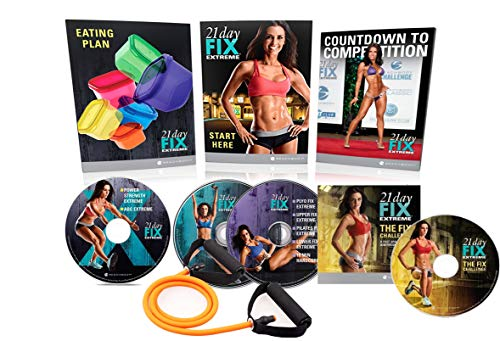 Qspeed 21 Day Fix Extreme Workout DVD Set,with 4 Fitness DVD and 15LB Elastic Band