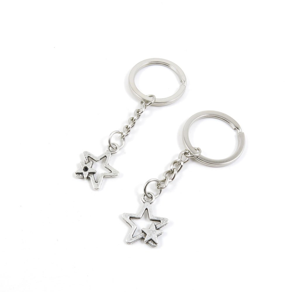 100 Pieces Keychain Door Car Key Chain Tags Keyring Ring Chain Keychain Supplies Antique Silver Tone Wholesale Bulk Lots F1UC1 Five-pointed Star