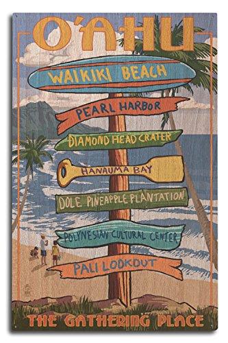 Waikiki Beach, Oahu, Hawaii - Destinations Sign (10x15 Wood Wall Sign, Wall Decor Ready to Hang) by Lantern Press
