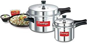 Prestige Popular Aluminium Pressure Cooker Combo of 7.5 Litre & 3 Litre