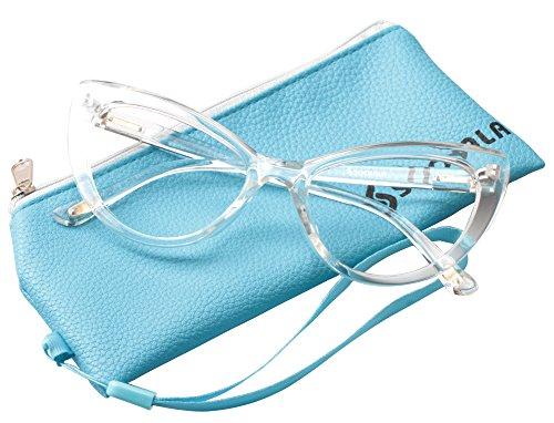 SOOLALA Womens Oversized Fashion Cat Eye Eyeglasses Frame Large Reading Glasses, Transparent, +2.25D