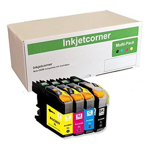 Inkjetcorner 4 Pack Compatible Ink Cartridges Combo + Chip Replacement for LC203 LC203XL BLC203 MFC-J460DW MFC-J480DW MFC-J485DW MFC-J680DW MFC-J880DW MFC-J885DW