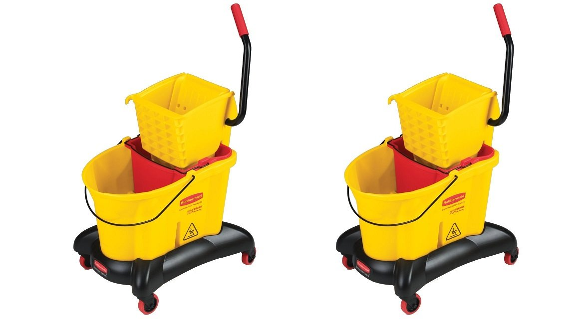 Rubbermaid Commercial WaveBrake Dual Water Mop Bucket and Side Press Wringer Combo, 35-Quart, Yellow, FG768000YEL (2 PACK)