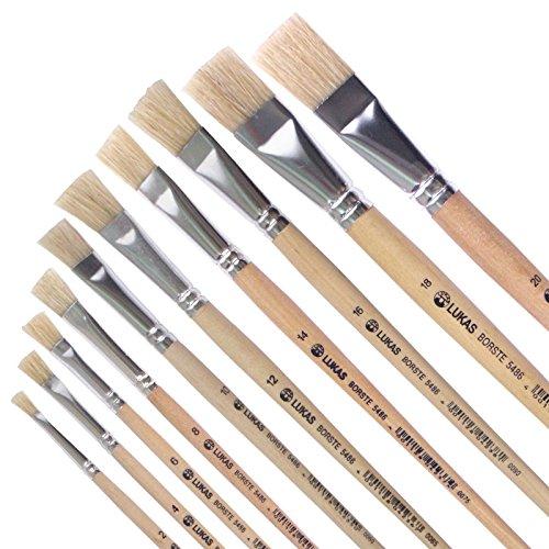 LUKAS Flach-Pinsel 10er Set - Studienqualität - für Acryl, Öl, Gouache etc. Größe: 2, 4, 6, 8, 10, 12, 14, 16, 18, 20 - Artikelnr. 5486